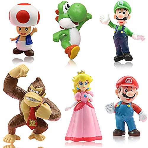 Miotlsy Super Mario Mini Figuren, 6er Set, Geburtstags Party liefert Cupcake Figuren, Cake Topper, Party Kuchen Dekoration Lieferungen