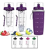 Bevgo Infuser Water Bottle - Large 32oz - Hydration Timeline Tracker - Detachable Ice Gel Ball with...