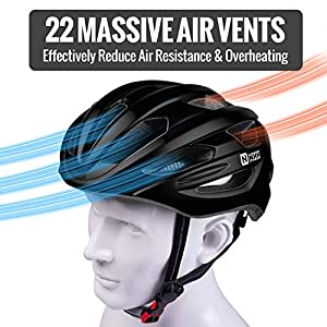 NHH Adult Bike Helmet - CPSC-Compliant Bicycle Cycling Helmet Lightweight Breathable and Adjustable Helmet for Men and Women Commuters and Road Cycling (Matte Black)