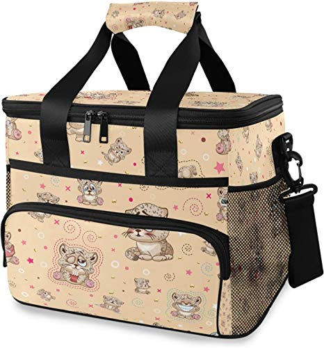 Large Cute Cartoon Cheetah Insulated Lunch Bag for Women/Men, Leakproof Reusable Cooler Cooling Tote, Office Work School Picnic Hiking Beach Lunch Box Organizer with Adjustable Shoulder Strap