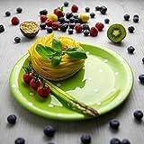 Handmade Lime Green And White Pottery Polka Dot Glazed 10inch/25.5cm Flat Dinner Plate | Ceramic...