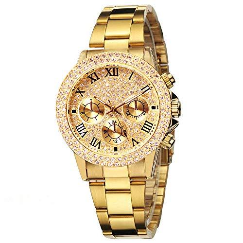 Panicy Hip Hop Herren Bling Bing Uhr Iced Out Diamond Watch mit Armband Silber vergoldet Metallarmbänder Rapper Armbanduhren für Herren