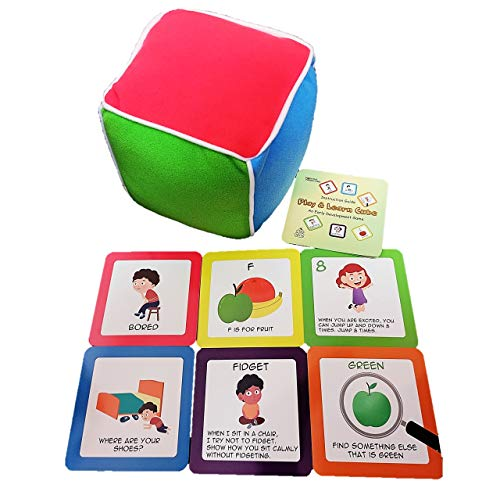 Thought-Spot Play & Learn Cube Game for Toddlers 18 Months and Up- Your Child's First Fun Learning Game! Teaches Colors, Numbers, Moods/Emotions, Letters and Language Skills; Autism; ADHD