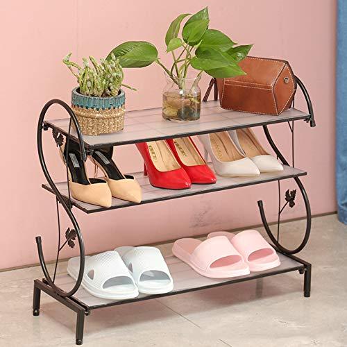 LJKD Mini Zapatero Multifuncional ensamblado del hogar del gabinete del Zapato del Hierro Forjado,Negro,3 Floors