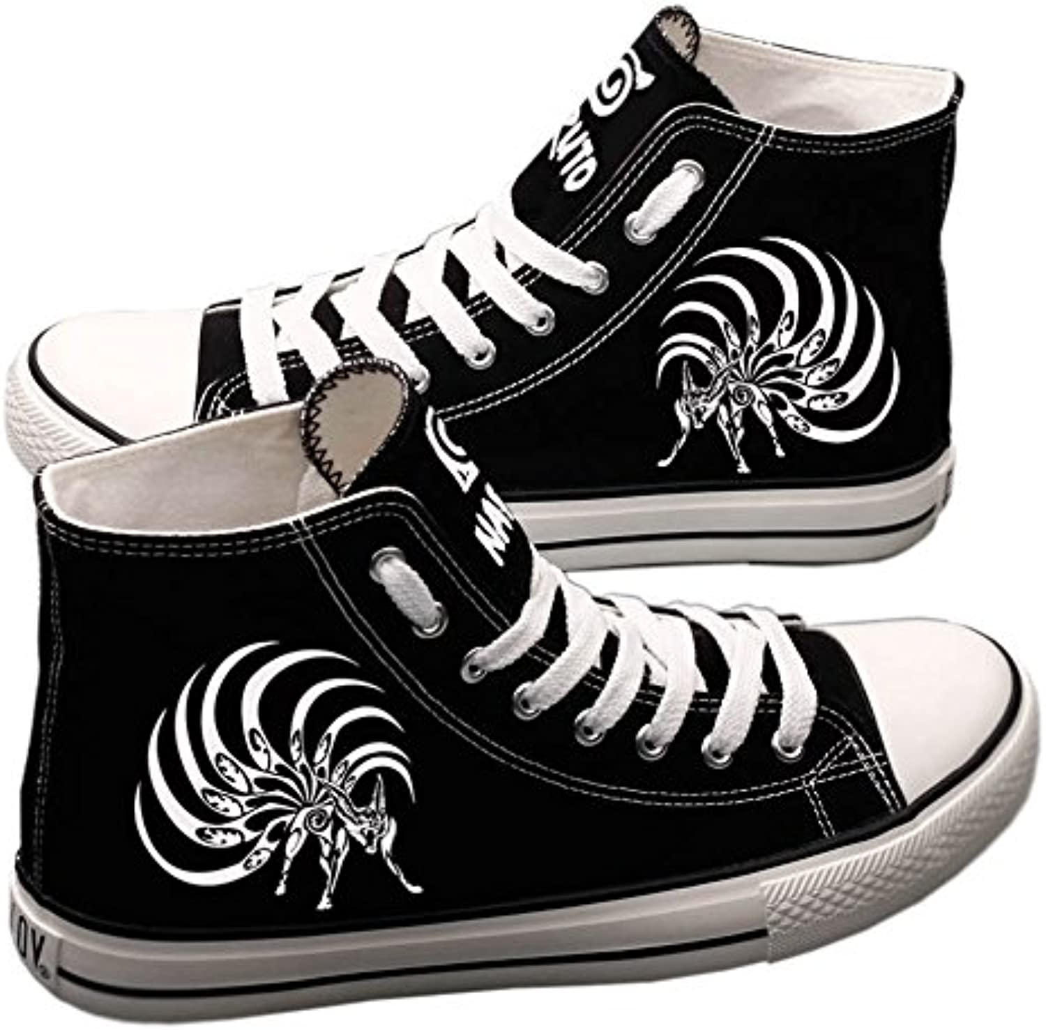 E_LOV Naruto Anime Kyubi Hand-Painted Canvas shoes High Top Sneakers Anime Painted Cosplay shoes for Women and Men Black