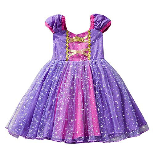 IZHH IZHH Kinder Kind Mädchen Kleider, Kurzarm Stern Print Prinzessin Mesh Tutu Performance Kleid Cosplay Party Kleidung (12M-4T) Ostern (Lila,110)