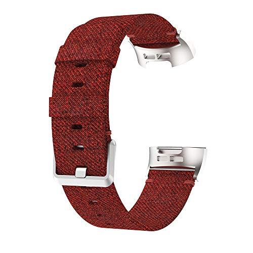 Luckhome Uhrenarmband Serie Lederarmband Ersatband Mit Edelstahl Metall Schließe Classic Armband Ersatz Band ,Ersatzgewebtes Canvas-Uhrenarmband-Handgelenkband für Fitbit Charge 3(rot)