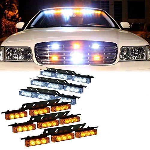 HEHEMM 54 LED clignotantes d'urgence pour voiture (ambre/blanc)