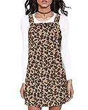 VONDA Donna Mini Abito Salopette Leopardo Tuta da Lavoro Vestito con Cinturino Taglie Forti Tinta Unita B-caffè XXL