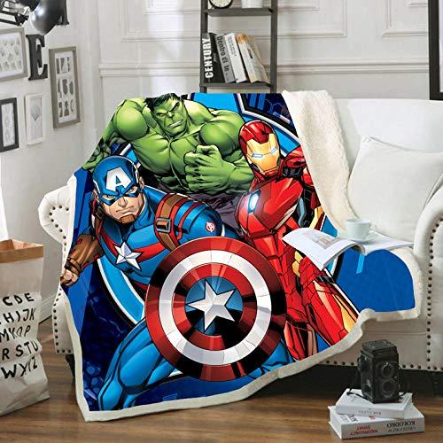 YZHY Marvel Spiderman Fleecedecke für Kinder, Cartoon, Avengers, Jungen, Decke aus Mikrofaser, für Nickerchen im Büro (150 x 200 cm)