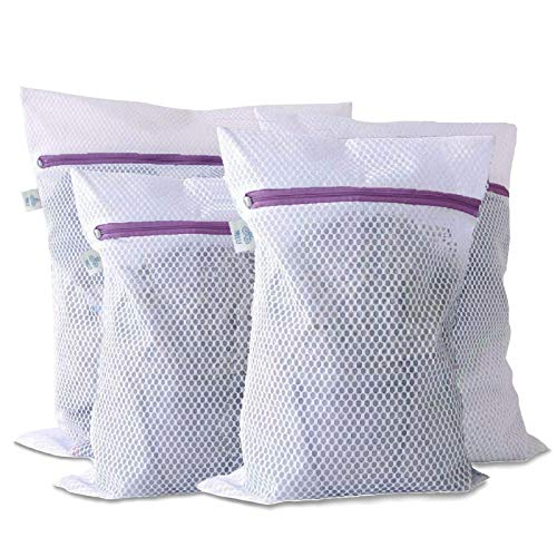 Set of 4 Laundry Wash Bags by Nilu Honeycomb Mesh Extra Large Reusable Heavy Duty Wash Bags with Premium Zipper Lock Mesh Bag for Lingerie Clothes Jeans Bath Towels Socks Travel Storage Organize Bag