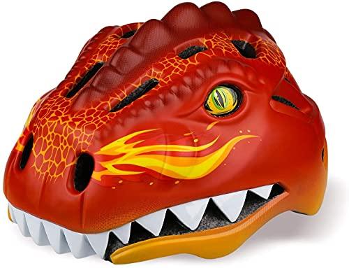 Casco de bicicleta para niños de dinosaurio, casco integral para patinaje, monopatín, scooter, bicicleta, casco de seguridad, para niños, BMX, niños, niñas, 48 – 52 cm