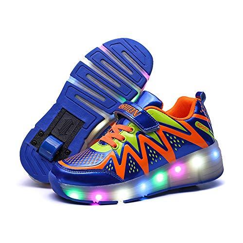WILLQ Flaschenzug Schuhe Turnschuhe mit Doppelrad LED Leuchtet Auf Einziehbare Skateboardschuhe Vibration Synthetisches Obermaterial Turnschuhe für Jungen und Mädchen,Blau,35