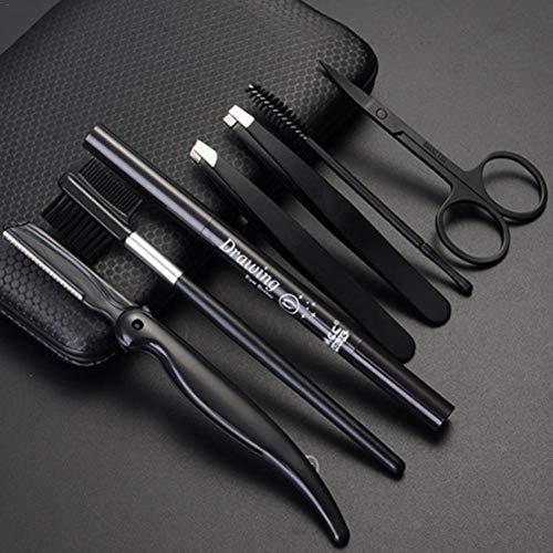 Rubyu 7 Teiliges Augenbrauen Set Augenbrauenformer Set mit Pinzette, Edelstahl Augenbrauenschere, Augenbrauenkamm, Augenbrauenrasierer, Augenbrauenstift Beauty-Tools für Herren, Schwarz
