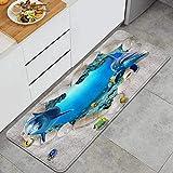 XINGAKA Alfombra de Cocina,Dolpjhin Fish School Fondo Marino Arrecife de Coral Playa Concha Forma de corazón Impresión 3D Creativa,Alfombrilla de Cocina Antideslizante Gruesa(45*120cm