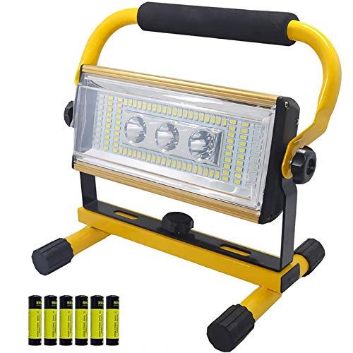 WOERD Foco de Trabajo LED, Luz de Trabajo Recargable 100W, Floodlight LED con Soporte, Rotación 360 Impermeable IP65 Foco Proyector para Jardín Taller Garaje Camping Obra