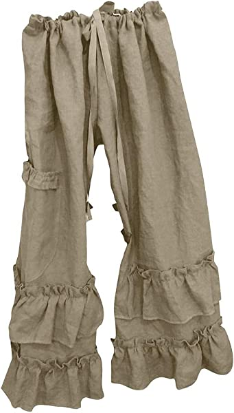 Linen Loose Pants For Women Casual Wide Leg Solid Color Ruffle Hem Elastic Waisted Trousers