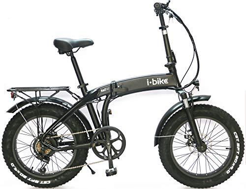 i-Bike Fold Pro ITA99, Bicicletta elettrica ripiegabile con ruote fat Unisex adulto, Nero, 44 cm