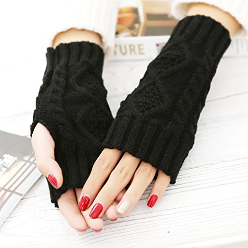 2 Pair Women's Hand Crochet Winter Warm Fingerless Arm Warmers Gloves 2 Pair(Black+DarkGray)