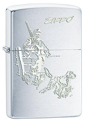 Zippo 60000105 Hunting, in Ottone, Colore: Cromo Spazzolato Accendino, Dimensioni 3,5 x 1 x 5,5 cm