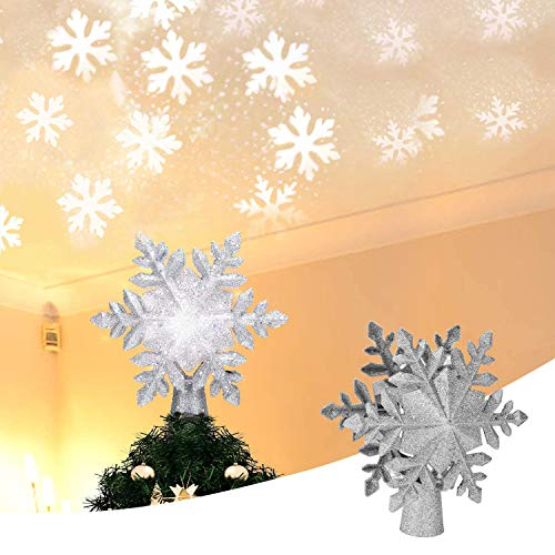 SVNVIOZ Snowflake Xmas Tree Topper, LED Projection Snowflake, 3D Glitter Silver Snow Sree Top Light, Used for Christmas Tree Decoration (Gold)