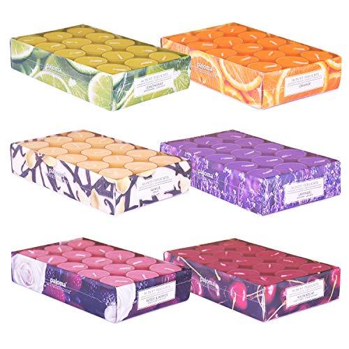 pajoma Duft Teelichte 180 Stück Duftkerzen frische fruchtige Frühjahr Sommer Düfte in Polycarbonathülle, 6X 30 Teelichte