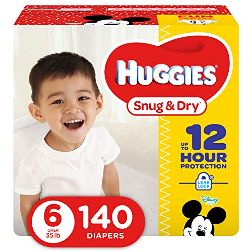 HUGGIES Snug & Dry Diapers, Size 6, 140 Count (Packaging May Vary)