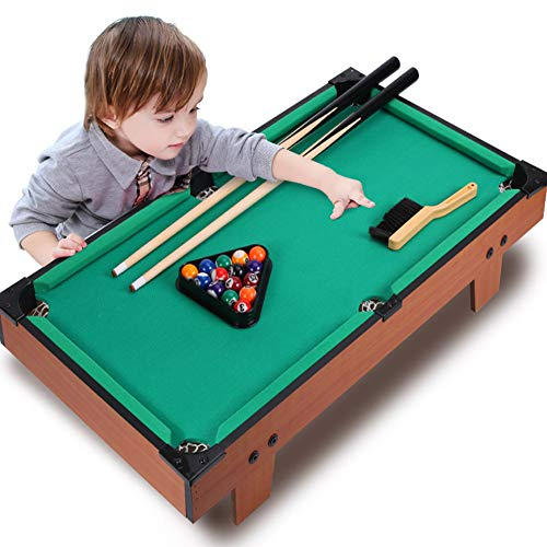 LYXCM Mini Billardtisch, professioneller tragbarer Tisch mit Pool-Queue-Stativbürste und Schokoladenpulver für das Home Party Office