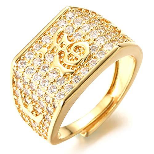 Halukakah ● Oro Bendiga Todo ● Hombres Anillo Chapado en 18K Oro Real con Diamantes Kanji Suerte Tamaño Ajustable con CajaDeRegaloGRATIS