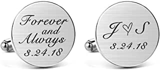 MUEEU Wedding Cufflink Engraved Forever & Always Custom Date Round Square Groom Tie Clip Tack