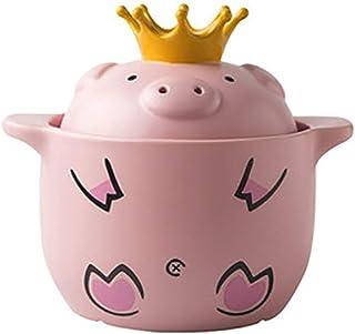 l.e.i. Cartoon Pig Ceramic Casserole with Lid,Clay Pot Stew Pot Soup Hot Pot Household Gas Ear Handle Stockpot Pink 2.32Quart