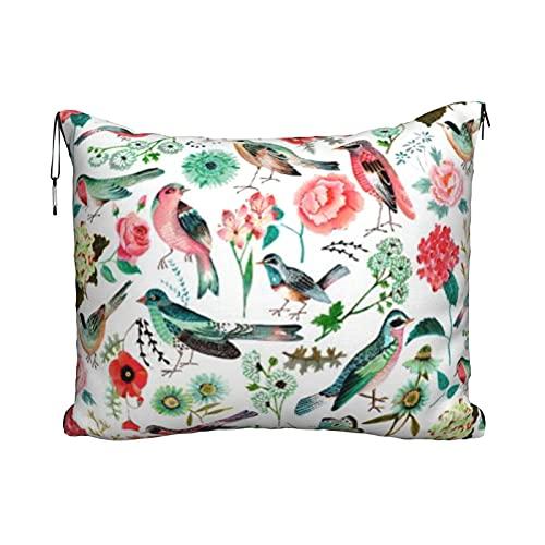 Manta de viaje y almohada, juego de almohada y manta de viaje, manta de viaje compacta, suave, 2 en 1, manta de avión, pájaros y flores, primavera y verano