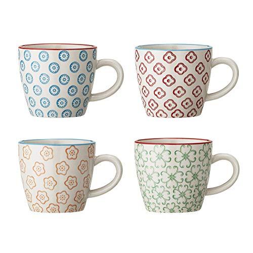 Bloomingville kleine Tassen Emma, blau rot orange grün, Keramik, 4er Set