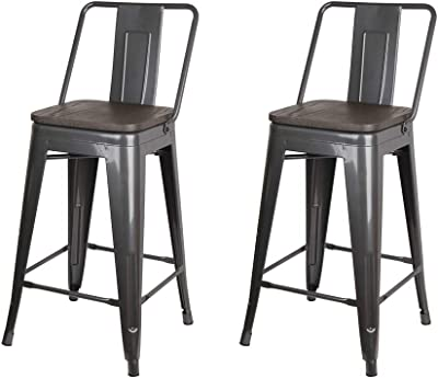 GIA 24-Inch High Back Stool, 2-Pack, Gun Gray/Dark Wood Seat
