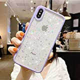 "Compatible with iPhone XR Case for Girls,Soft Slim Fit Full-Around Protective Cute Clear Sparkly Bling Star Phone Case Glitter Cover for iPhone XR(6.1"")-Purple"