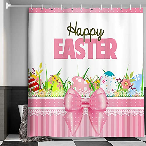 Happy Easter Shower Curtain, Colorful Eggs Spring Plant Flower Green Grass Decor Bathroom Curtains, Lovely Holiday Modern Farmhouse Cloth Fabric Bath Curtains, 71 X 71 Inches Pink/White