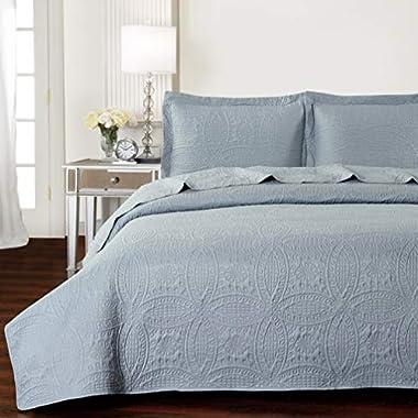 Mellanni Bedspread Coverlet Set Gray - BEST QUALITY Comforter Oversized 3-Piece Quilt Set (Full/Queen, Light Gray)