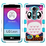 lg Leon LTE case - [Pink Owl](White/Teal) UNIQUITI(TM) Cell Phone Armor Cover [TuMax] Dual Layer Hybrid Hard Skin Guard Ultra Protective Shell (for lg Leon LTE Tribute 2 Destiny l21g Power l22c c40)