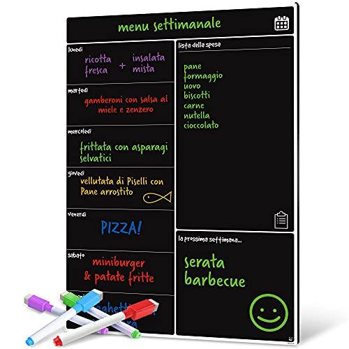 Smart Panda Lavagna Calendario Magnetico Frigorifero - Perfetta per la Pianificazione Settimanale dei Pasti, per la Lista della Spesa, per Tutta la Famiglia - Lavagnetta Magnetica - in Italiano