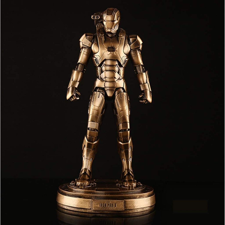 Qivor Avengers Iron Man Patriot GK Modell Statue 33 cm Exquisite Anime Dekorationen Realistische Baby Doll (Farbe   Gold)