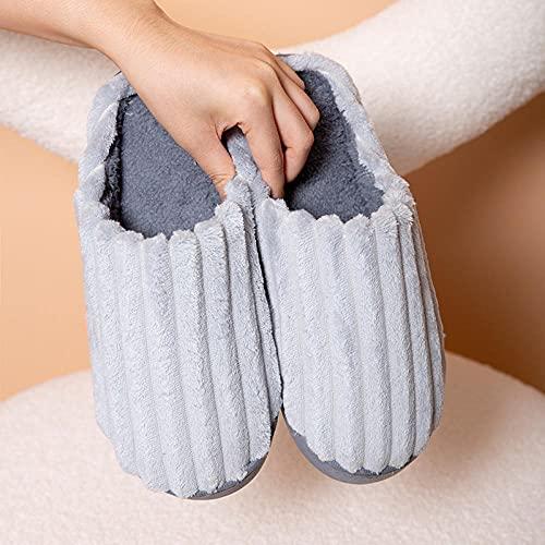 QPPQ Pantuflas de algodón, zapatillas de casa otoño/invierno, zapatillas de algodón de interior cálido-gris_6.5-7, zapatillas de algodón cómodas