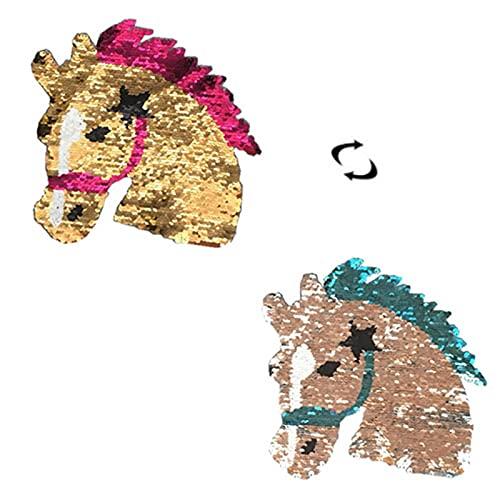 3 piezas Parche termoadhesivo,pegatinas de tela bordadas,ropa de bricolaje,adecuada para abrigos,camisetas,jeans,etc.de todas las edades, gran cabeza de caballo abatible