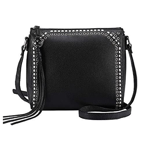 seOSTO Medium Crossbody Bags for Women, Shoulder Bag with Tassel Crossbody Purse Multi Pocket Bags (Black)