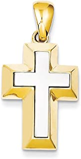 Lex & Lu 14k Two-Tone Gold Open-Backed Cross w/Yellow Edges Pendant
