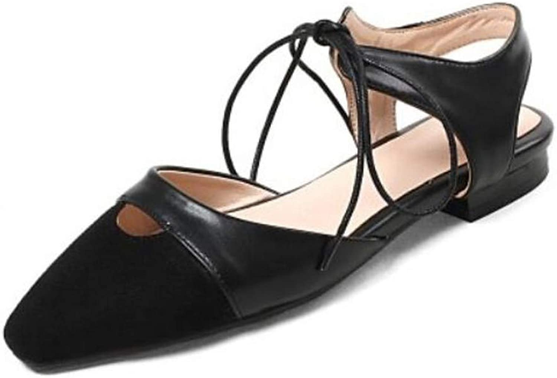 IWlxz Women's Suede PU(Polyurethane) Summer Sandals Flat Heel Pointed Toe Black Beige