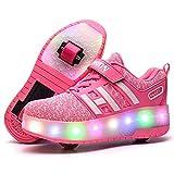 IDE Play Zapatos de Rodillos de Rodillos Zapatos para niños Chicas Chicos Zapatos Ruedas Házte Deportes Cordones LED Conveniente para los Regalos de los niños,Rosado,36