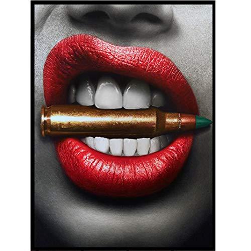Pintura Moderna Cuadro en Lienzo, Labios rojos sexy Morder balas y dinero Cuadros Decoracion Salon Modernos Wall Art Modular Poster impresión en Material Tejido no Tejido,03,50x70cm