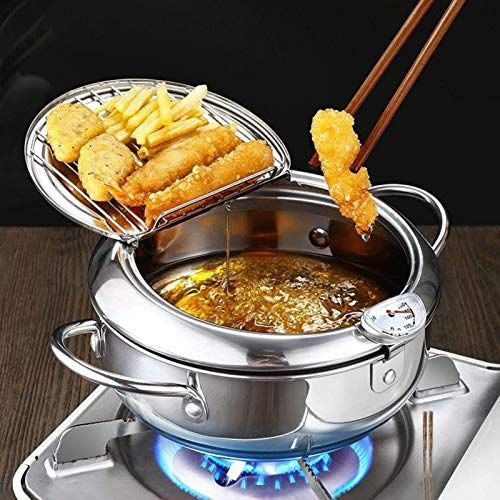 Deep Fryer Pan, Japanese-Style Tempura Deep Fryer with Thermometer, Nonstick Stainless Steel Household Frying Pot, Dust-Proof Lid and Oil Drip Rack for Kitchen Cookingil Drip Rack for Kitchen Cooking