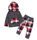 Binggong vêtements Bébé Ensemble Bébé Fille Noël Filles Infant Toddler Bébé Garçons T-Shirt à Carreaux à...