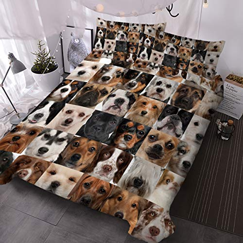 BlessLiving Kids' Duvet Cover Sets Duvet Covers Collage of Dog Heads Pattern Bed Sets 3 Pieces 1 Duvet Cover and 2 Pillow Cases Cute Puppy Dogs Bedding for Kids (Single)